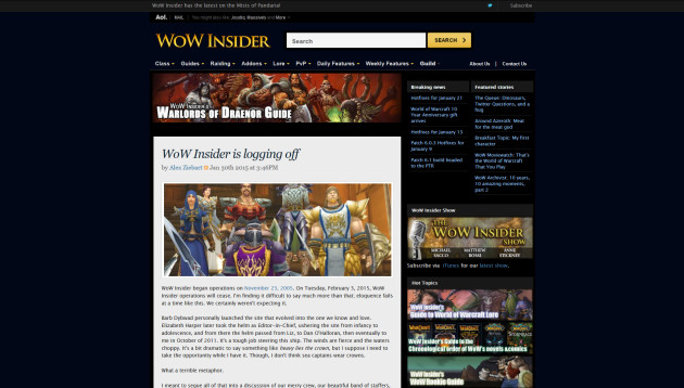 WoW Insider Says Goodybye to the Community