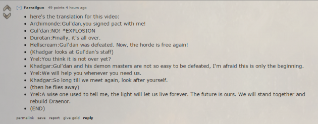 Credit to Farrailgun for providing  what many were wondering was uttered throughout the cinematic.