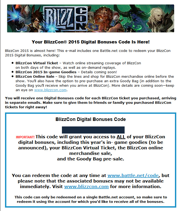 BlizzCon 2015 Digital Bonuses Code Arriving Now