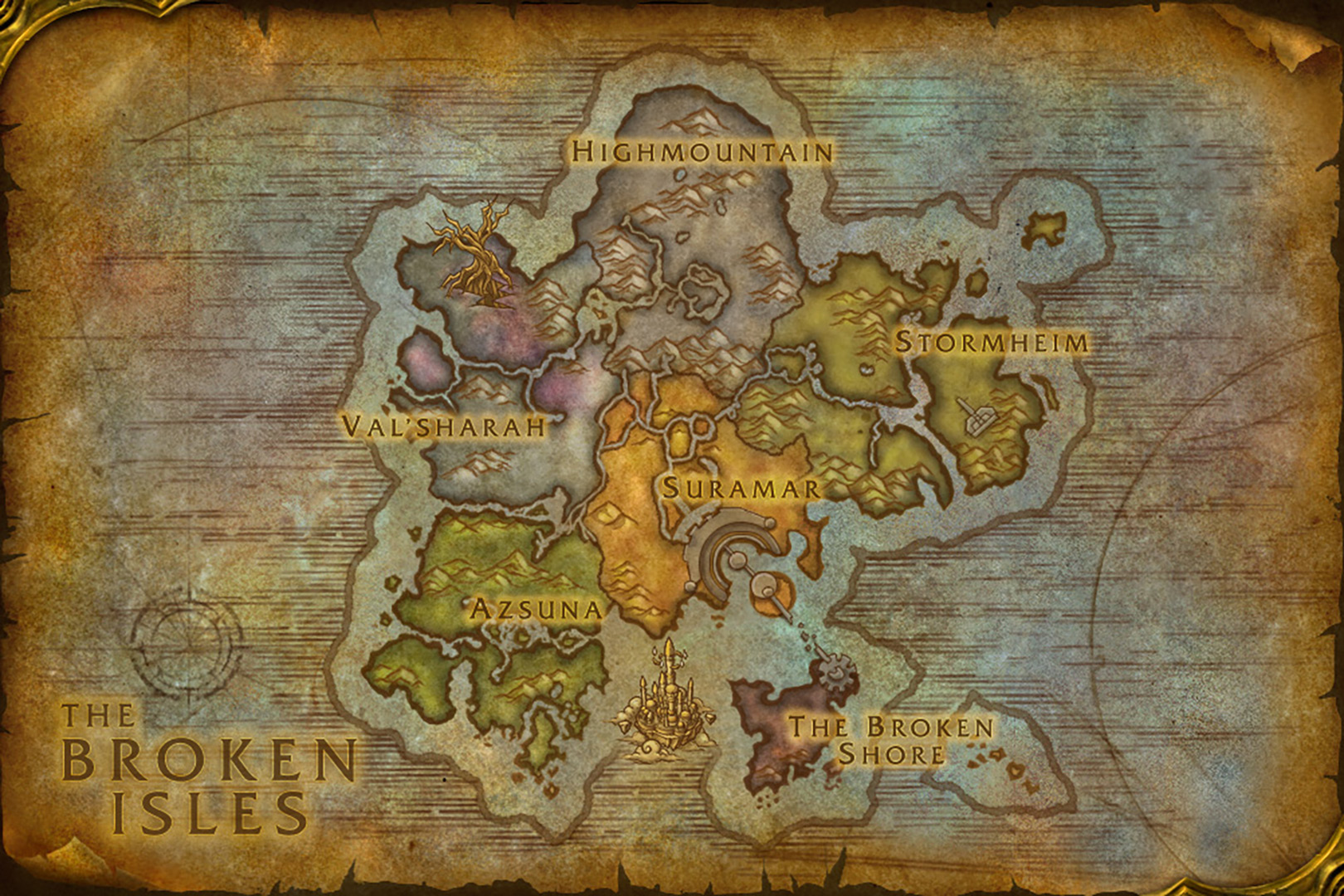 Legion World Map.World Of Warcraft Legion The Broken Isles Map Blizzplanet Warcraft