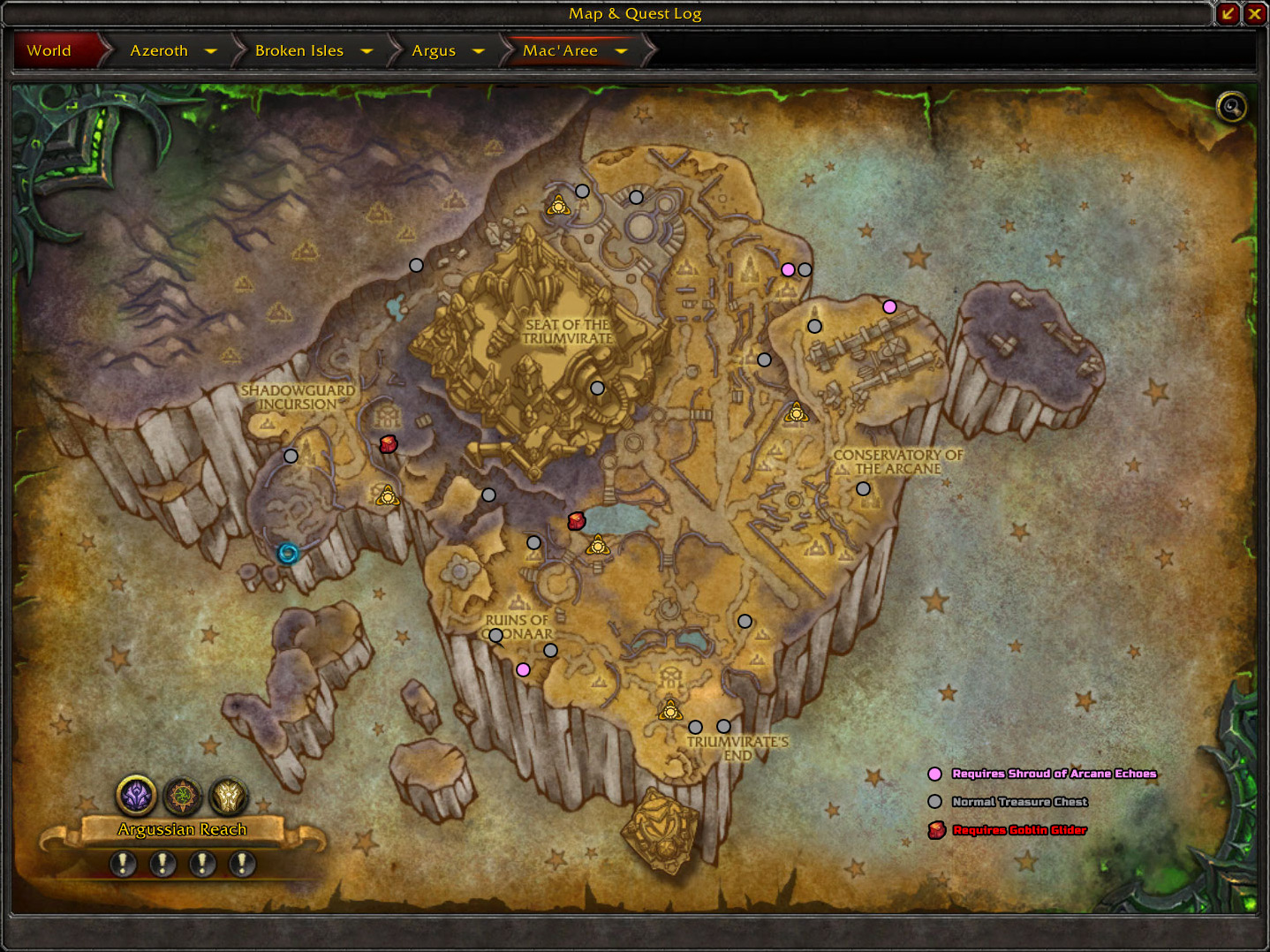 Patch 73 the augari treasure chests blizzplanet warcraft in the macaree map above there are two marked with the goblin glider icon these two treasure chests can be reached via goblin glider or the demon hunter gumiabroncs Images
