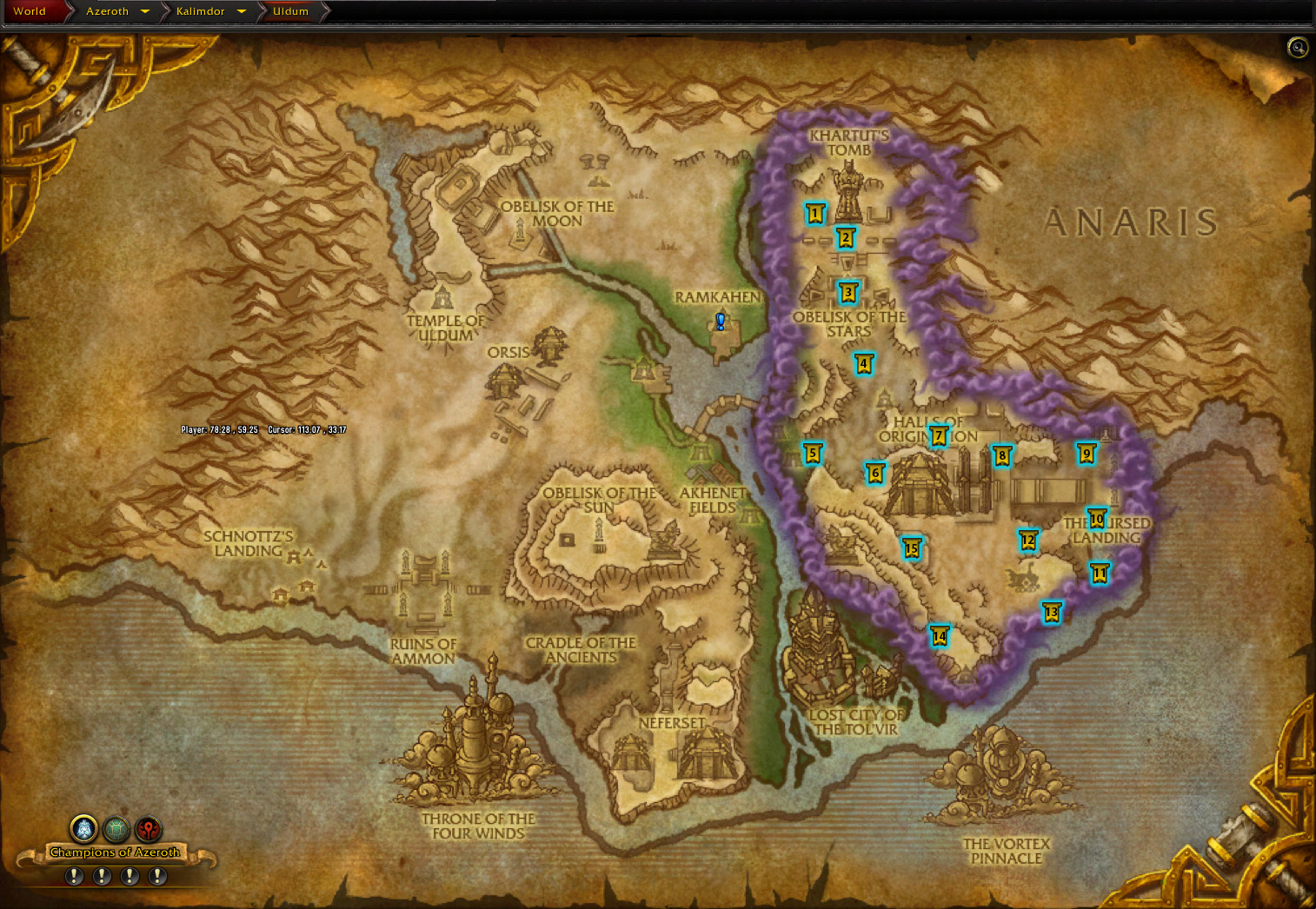 8.3 Uldum Amathet Advance World Quests Map