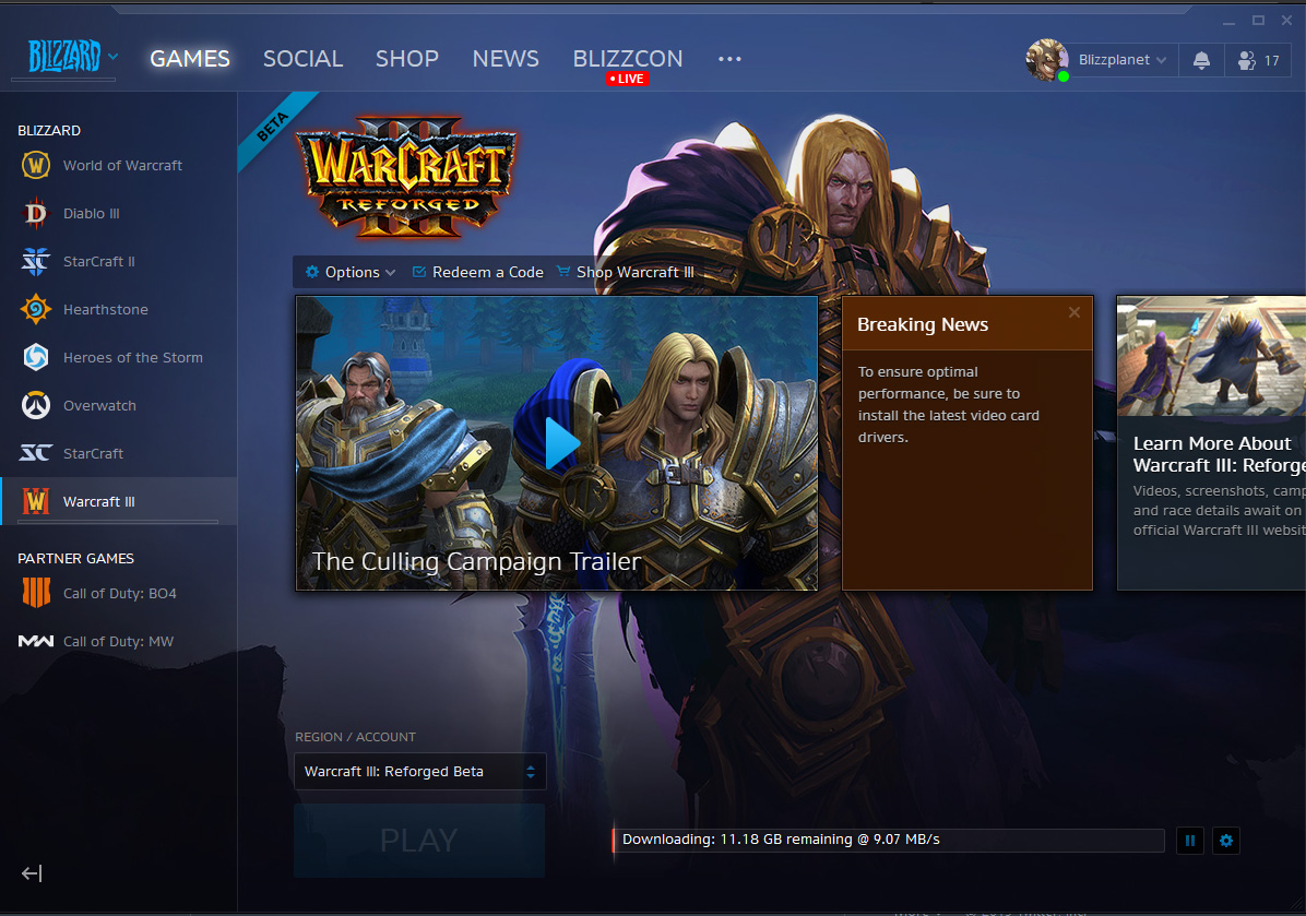 Warcraft III: Reforged Installer
